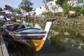 Traditional fishing boats in alcoutim town close view of located portugal Stock Photography