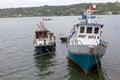 Traditional fishing boats at Dalcahue, Chile