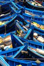 Traditional fishing boats in essaouria morocco close shot of a fleet of blue Royalty Free Stock Photo