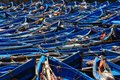 Traditional fishing boats in essaouria morocco a fleet of blue the inner harbour of Royalty Free Stock Photos