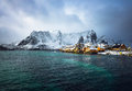 Traditional fishing settlements of Lofoten islands. Beautiful Norway landscape and old architecture. Royalty Free Stock Photo