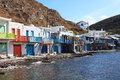 Traditional fishing village on milos island greece romantic with multi coloured houses Royalty Free Stock Photo