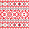 Traditional folk knitted red emboidery pattern from ukraine ethnic seamless ukrainian print in an grey on white background Royalty Free Stock Photography