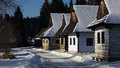 Traditional folk village architecture in winter , Slovakia