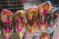 Traditional footwear of Nepal. Local art and craft stall in Kathmandu