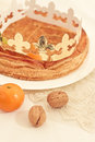 Traditional French cake, Galette des Rois Royalty Free Stock Images