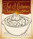 Delicious Ful Medames in Hand Drawn Style for Ramadan Celebration, Vector Illustration