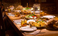 Traditional georgian food meal set on a table Royalty Free Stock Images