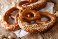 Traditional German salted pretzel bread macro on the table. Hori Royalty Free Stock Photo