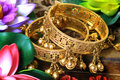 Traditional golden bracelets Royalty Free Stock Photo