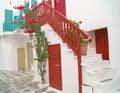Traditional Greek architecture on Mykonos island Royalty Free Stock Photo