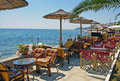 Traditional greek cafeteria at the beach in greece Stock Photography