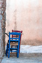 Traditional greek chairs and coffee table in the castle town of monemvasia lakonia greece Stock Image