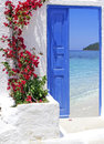 Traditional greek door with a great view Stock Photo