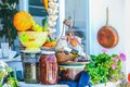 Traditional greek food on the shop bench in santorini Stock Photography