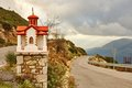 Traditional greek little church near the road valley of river loussios peloponnese greece Royalty Free Stock Photos