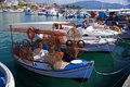 Traditional Greek small fishing boat. Stock Image