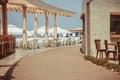 Traditional greek tavern in the narrow streets of Malia Royalty Free Stock Photo