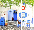 Traditional greek tavern santorini island greece Royalty Free Stock Images