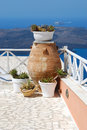 Traditional greek vase in santorini island greece Royalty Free Stock Image