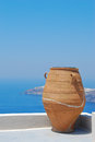 Traditional greek vase in santorini island greece Stock Photography