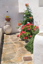 Traditional greek yard on sifnos island greece Stock Photography
