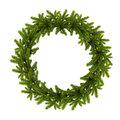 Traditional green christmas wreath isolated on white background. Royalty Free Stock Photo