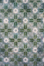 Traditional green and white portuguese close up image of tiles Royalty Free Stock Image