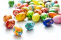 Traditional hand painted Easter eggs on white Royalty Free Stock Photo