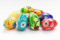 Traditional hand painted Easter eggs on white. Spring patterns Royalty Free Stock Photo