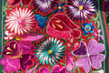 Traditional handmade guatemalan fabric flower design Stock Photos