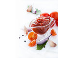 Traditional homemade tomato sauce with ingredients on light background selective focus square copy spice Royalty Free Stock Image
