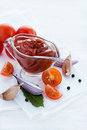 Traditional homemade tomato sauce with ingredients selective focus Stock Image