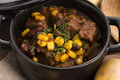 Traditional hot pot stew with meat and vegetables Royalty Free Stock Photo