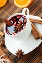Traditional hot wine with almonds and cinnamon Stock Image