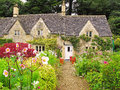 Traditional house in cotswolds typical with front garden the cotwolds of england uk Royalty Free Stock Photography