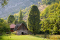 Traditional house in mountains Royalty Free Stock Photo