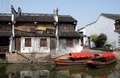 Traditional houses along the Grand Canal, ancient town of Yuehe in Jiaxing, China Royalty Free Stock Photo