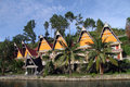 Traditional houses batak on the samosir island in indonesia Stock Photography