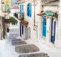 Traditional houses on the greek islands in blue colors architecture of cylades Royalty Free Stock Images