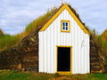 Traditional Iceland turf roof house Royalty Free Stock Photo
