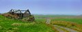 Traditional icelandic house with the grass covered roof west fjords iceland panorama Stock Photography