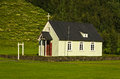 Traditional Icelandic wooden church at Skogar Royalty Free Stock Photo