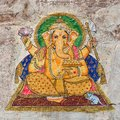 Traditional Indian colourful wall painting in Udaipur, Rajasthan, India