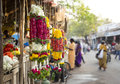 Traditional indian marigold flower garlands in a market place Royalty Free Stock Photo