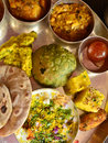 Traditional Indian vegeterian platter Royalty Free Stock Photo
