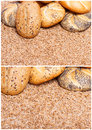 Traditional integral bread over raw wheat cereals Stock Images