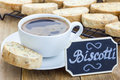 Traditional Italian biscotti with almond and cup of coffee Royalty Free Stock Photo