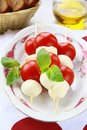 Traditional Italian Caprese Salad mozzarella Stock Photos