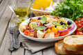 Traditional Italian Panzanella salad with fresh tomatoes and crispy bread Royalty Free Stock Photo